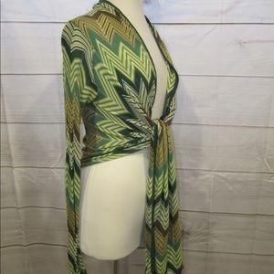 BCBG MAXAZRIA Green Tie Sweater Sz L